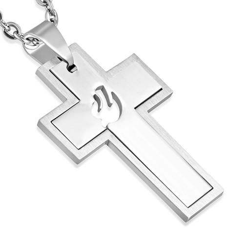 Kreuz Anhänger Edelstahl mit Friedenstaube