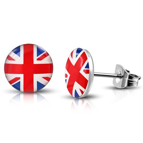 Cabochon Ohrstecker rund: Edelstahl Dots ,,England Flagge