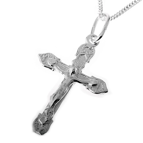 Jesus Kreuz Kette: Halskette mit Anhänger Silber
